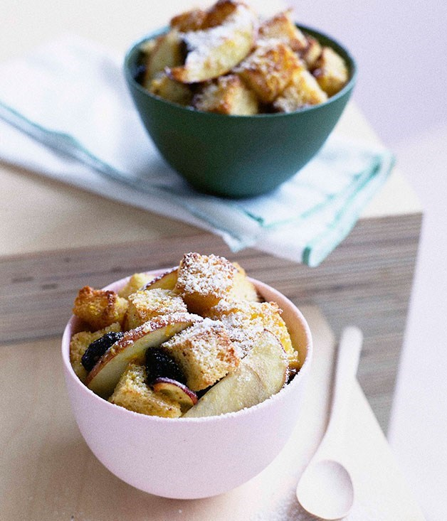 "[**Apple, raisin and brioche pudding**](https://www.gourmettraveller.com.au/recipes/browse-all/apple-raisin-and-brioche-pudding-9761|target=""_blank"")"