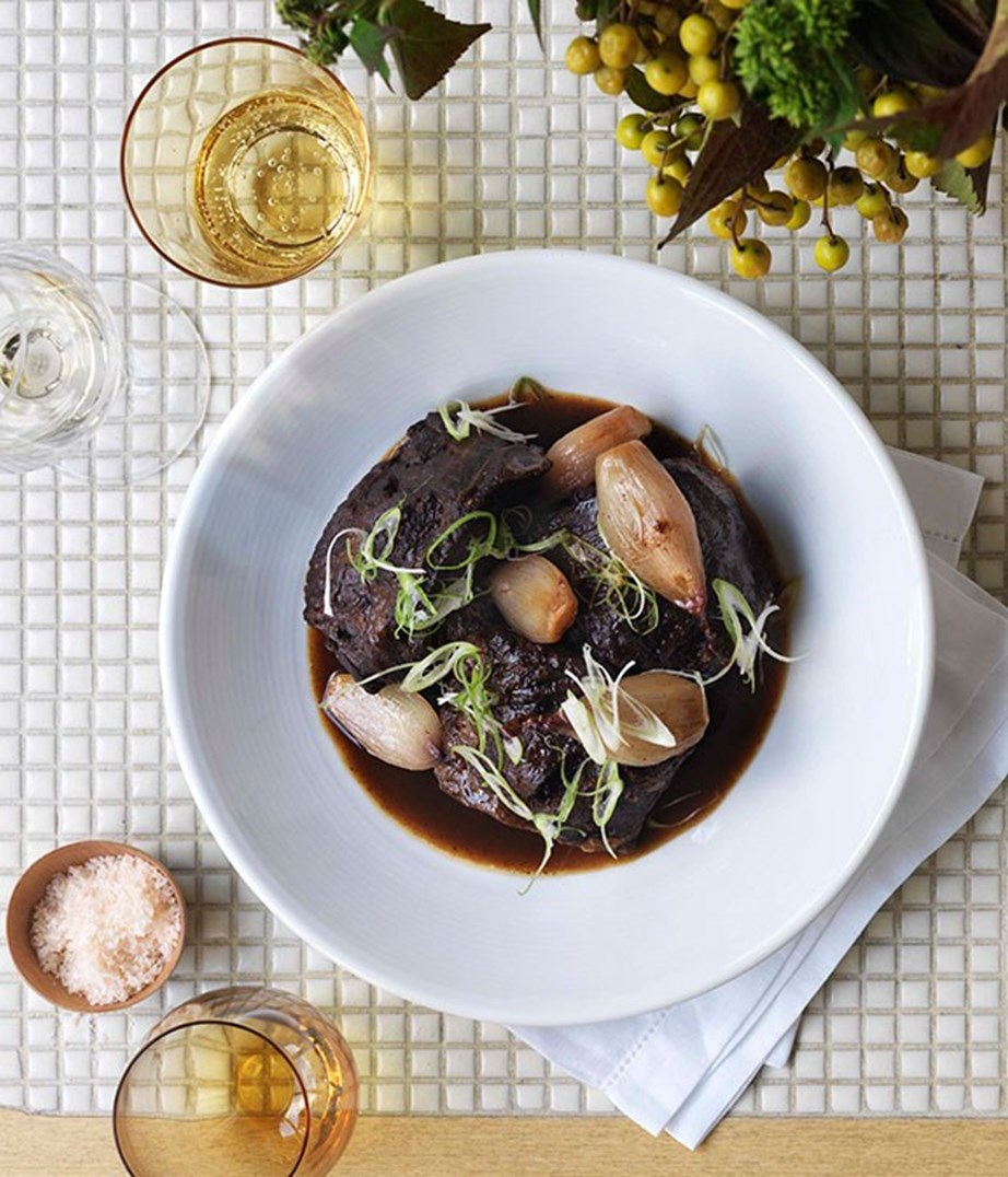 "[Braised beef cheeks in sarsaparilla](https://www.gourmettraveller.com.au/recipes/chefs-recipes/braised-beef-cheeks-in-sarsaparilla-7233|target=""_blank"")."