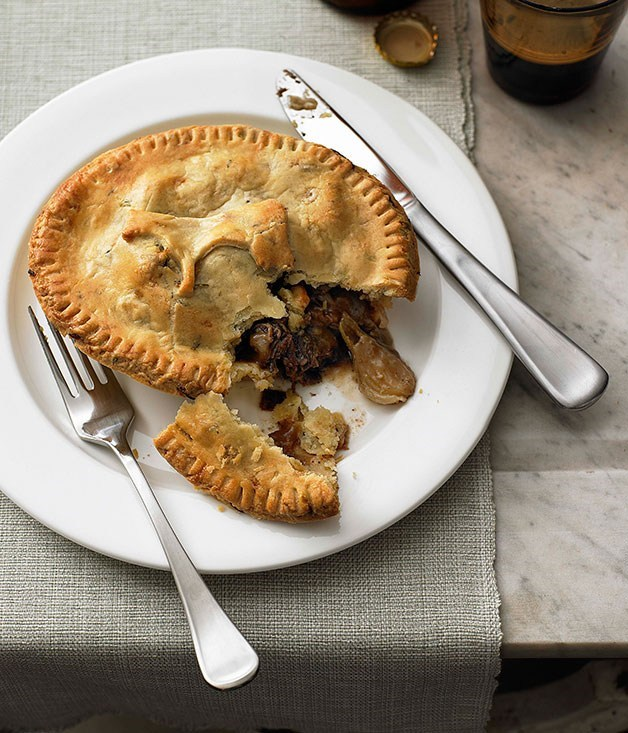 **Beef cheek, onion and stout pies with thyme and onion pastry**