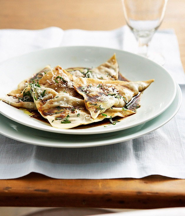 "[**Beef cheek ravioli with mandarin mustard fruits**](https://www.gourmettraveller.com.au/recipes/chefs-recipes/beef-cheek-ravioli-with-mandarin-mustard-fruits-8815|target=""_blank"") <br><br>"