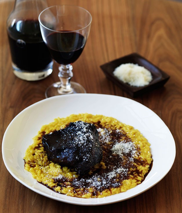 **Beef cheek with red wine and saffron risotto**
