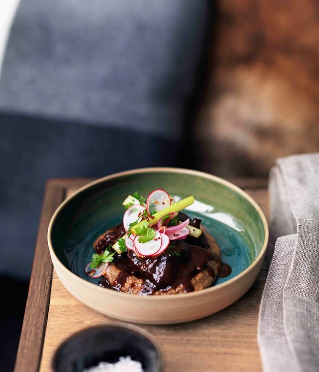 **Beef cheeks with radish, mustard seed and pickled celery salad**