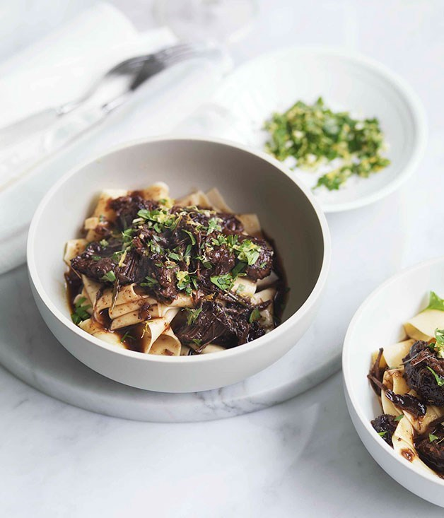 "[**Agrodolce beef cheeks with pappardelle**](https://www.gourmettraveller.com.au/recipes/browse-all/agrodolce-beef-cheeks-with-pappardelle-10746|target=""_blank"") <br><br>"