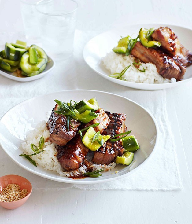 **Hoisin pork spareribs with ginger-bruised cucumber**
