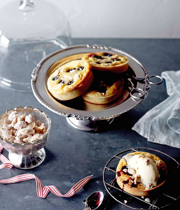 **Cherry clafoutis tartlets with candied almond ice-cream**