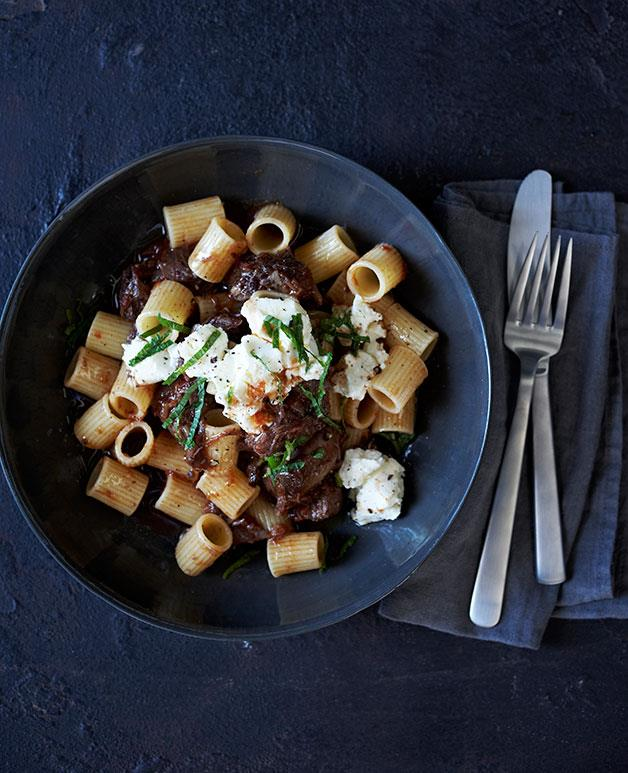 "**[Braised beef shin with rigatoni, feta and mint](https://www.gourmettraveller.com.au/recipes/browse-all/braised-beef-shin-with-rigatoni-feta-and-mint-11945|target=""_blank"")**"
