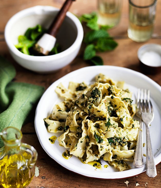 """**[Pounded almond and mint pasta sauce](https://www.gourmettraveller.com.au/recipes/chefs-recipes/pounded-almond-and-mint-pasta-sauce-8052