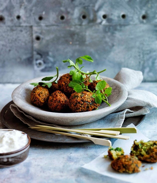 "[**Falafel**](https://www.gourmettraveller.com.au/recipes/browse-all/falafel-11659|target=""_blank"")"