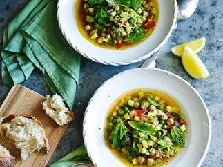 Green minestrone with chickpeas and lemon - autumn vegetarian recipes