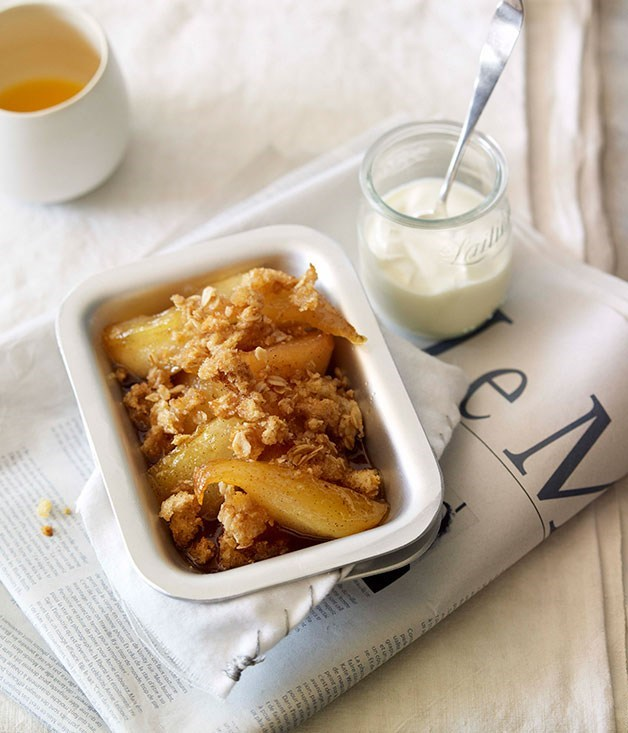 "**[Honey-baked pear breakfast crumble](https://www.gourmettraveller.com.au/recipes/browse-all/honey-baked-pear-breakfast-crumble-10069|target=""_blank"")**"