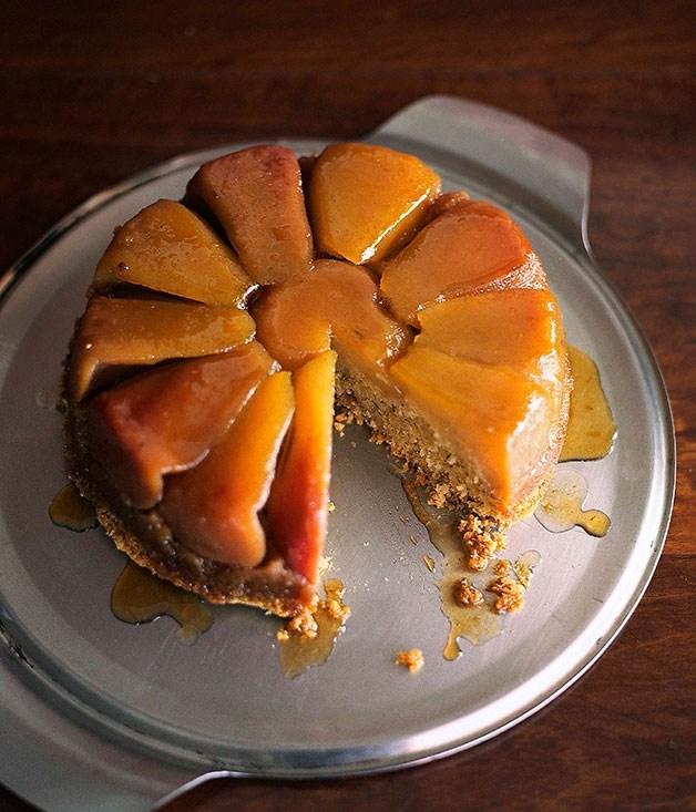 **Upside-down pear cake**