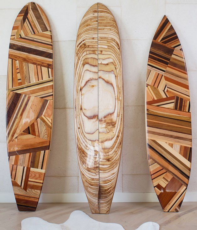 "**Life is swell** Kelly Wearstler describes it as ""a soulful and spirited homage to iconic west coast style"", but we just love her surfboard's complex puzzle design featuring a spectrum of rich nutty woods - walnut, cherry, koa, ash and Russian birch plywood, to name a few."