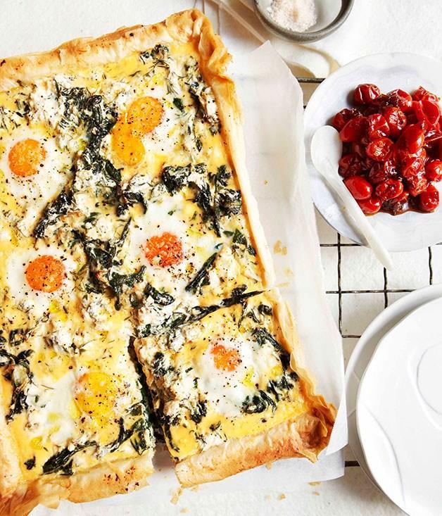 "**[Egg, spinach, rocket and feta breakfast tart](https://www.gourmettraveller.com.au/recipes/browse-all/egg-spinach-rocket-and-feta-breakfast-tart-10744|target=""_blank"")**"