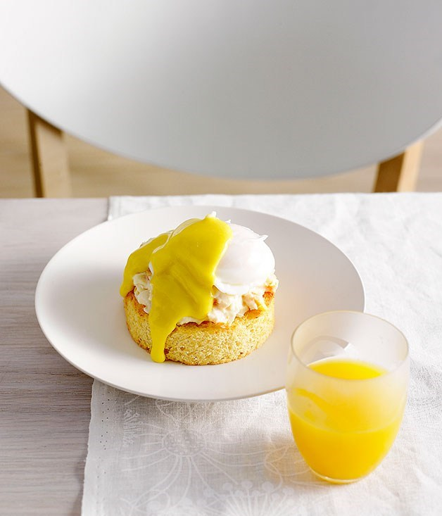"**[Oeufs Benedictine with smoked cod brandade](https://www.gourmettraveller.com.au/recipes/chefs-recipes/oeufs-benedictine-with-smoked-cod-brandade-8802|target=""_blank"")**"