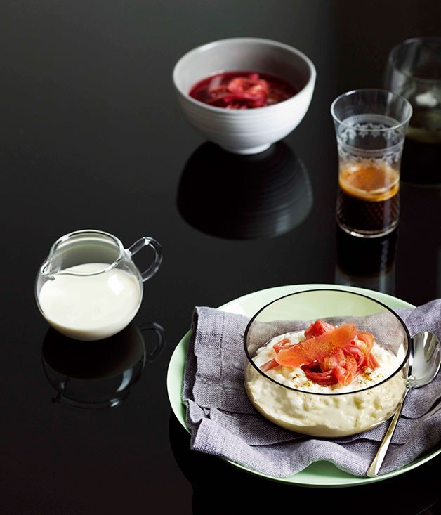 "**[Breakfast risotto with poached rhubarb](https://www.gourmettraveller.com.au/recipes/browse-all/breakfast-risotto-with-poached-rhubarb-10512|target=""_blank"")**"