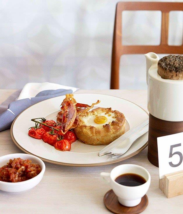 """**[Breakfast pies with tomato chilli jam and crisp speck](https://www.gourmettraveller.com.au/recipes/browse-all/breakfast-pies-with-tomato-chilli-jam-and-crisp-speck-10476