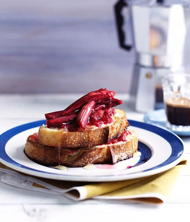"""**[Rhubarb and mascarpone French toast](https://www.gourmettraveller.com.au/recipes/browse-all/rhubarb-and-mascarpone-french-toast-10177