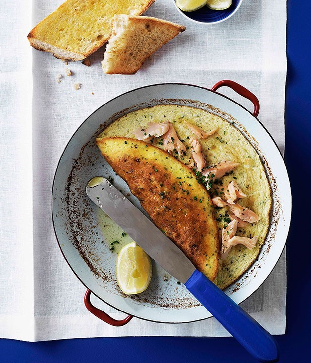 "**[Smoked trout and chive soufflé omelette with lemon beurre noisette](https://www.gourmettraveller.com.au/recipes/browse-all/smoked-trout-and-chive-souffle-omelette-with-lemon-beurre-noisette-9732|target=""_blank"")**"