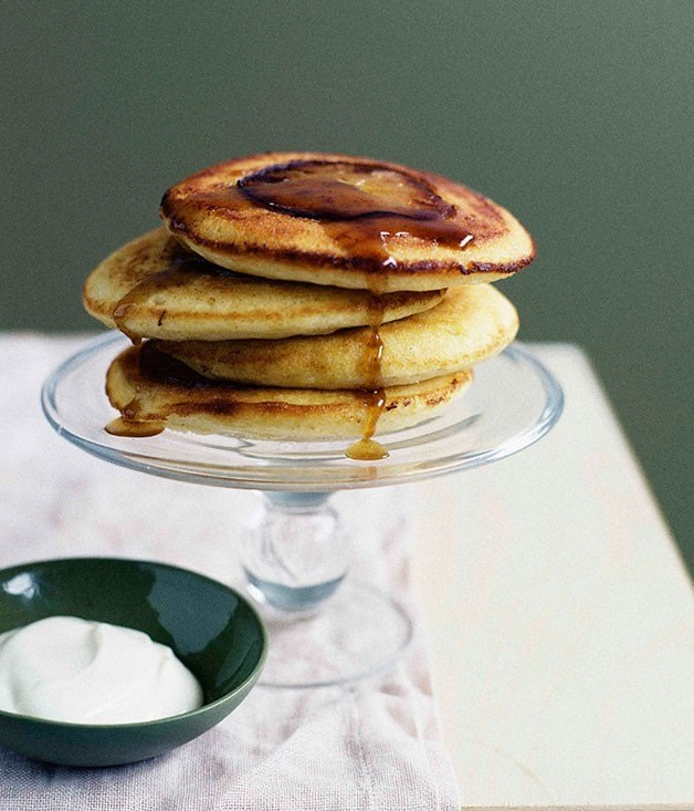 "**[Apple-maple buttermilk hotcakes](https://www.gourmettraveller.com.au/recipes/browse-all/apple-maple-buttermilk-hotcakes-9757|target=""_blank"")**"