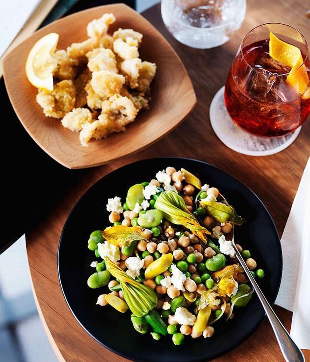 **Chickpea, broad bean, zucchini flower, preserved lemon and ricotta salad**