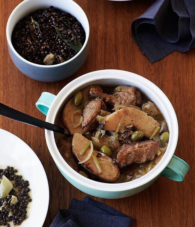 "[**Duck with quince, olives and lentils**](https://www.gourmettraveller.com.au/recipes/browse-all/duck-with-quince-olives-and-lentils-9687|target=""_blank"")"