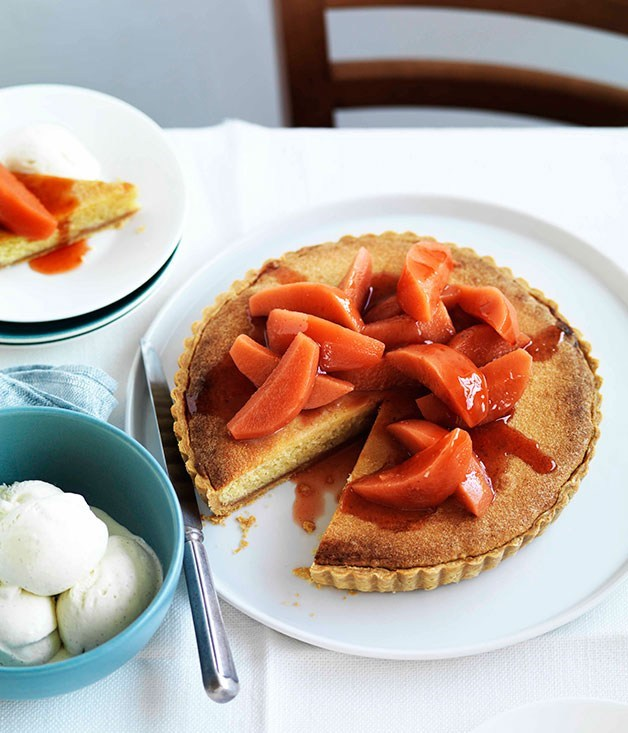 "[**Quince and frangipane tart**](https://www.gourmettraveller.com.au/recipes/chefs-recipes/quince-and-frangipane-tart-9021|target=""_blank"")"