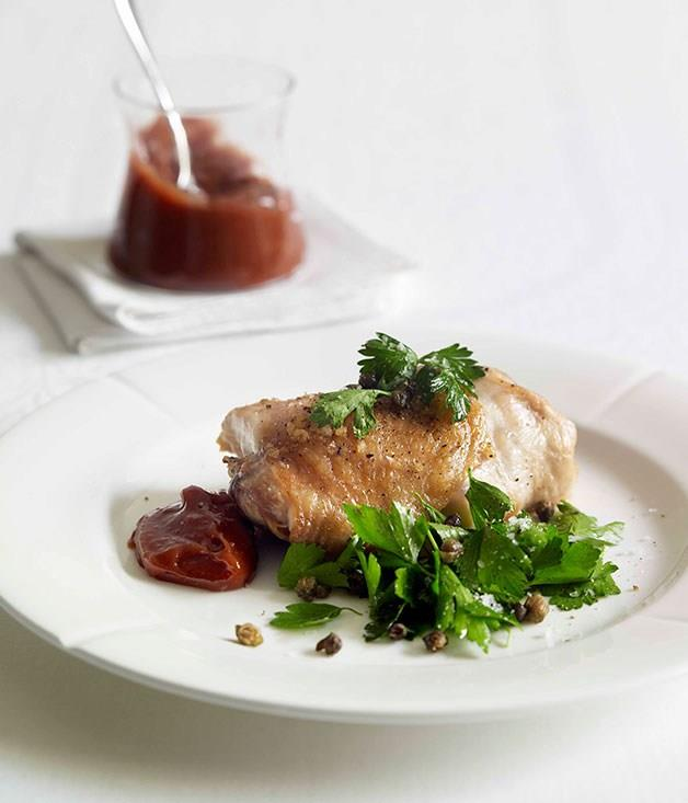 "[**Roast chicken with quince alioli, parsley and crisp caper salad**](https://www.gourmettraveller.com.au/recipes/fast-recipes/roast-chicken-with-quince-alioli-parsley-and-crisp-caper-salad-13011|target=""_blank"")"