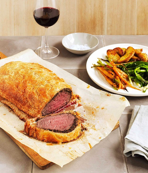 "**[Beef Wellington](https://www.gourmettraveller.com.au/recipes/browse-all/beef-wellington-8756|target=""_blank"")** <br> Tender beef encased in a buttery puff pastry, with layers of mushroom and pâté for good measure - what's not to love about this retro classic? Revive it in your household this weekend."