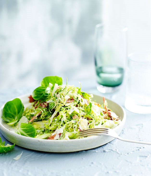 Brussels sprout salad with bacon, apple and buttermilk dressing