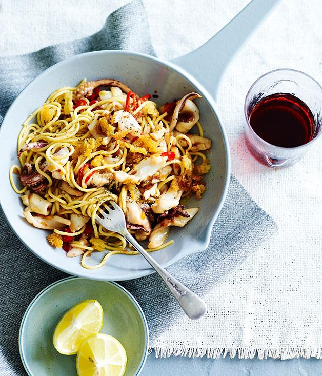 "[**Spaghettini with calamari, rosemary and lemon**](https://www.gourmettraveller.com.au/recipes/fast-recipes/spaghettini-with-calamari-rosemary-and-lemon-13474|target=""_blank"")"