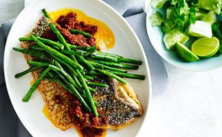 Crisp fish with sambal and snake beans