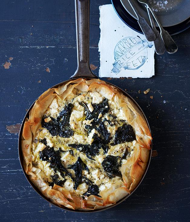 "**[Silverbeet, rice and feta fillo tart](https://www.gourmettraveller.com.au/recipes/browse-all/silverbeet-rice-and-feta-fillo-tart-11964|target=""_blank"")**"