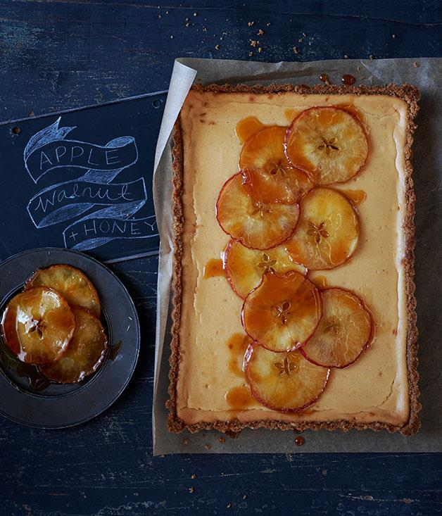 """**[Apple and honey tart with walnut crumb crust](https://www.gourmettraveller.com.au/recipes/browse-all/apple-and-honey-tart-with-walnut-crumb-crust-11966