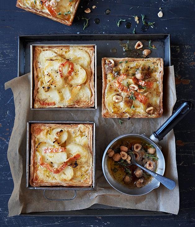 Potato, leek and thyme tartlets