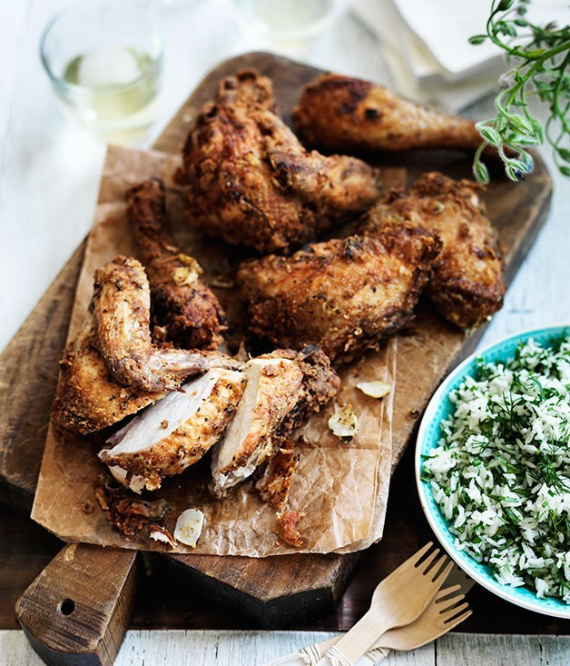 **Greek-style fried chicken with herb rice**