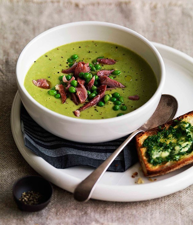 "[Pea and ham soup](https://www.gourmettraveller.com.au/recipes/browse-all/pea-and-ham-soup-8727|target=""_blank"")"