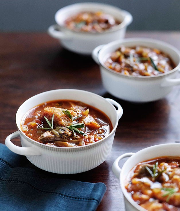 "[Porcini, tomato and bread soup](https://www.gourmettraveller.com.au/recipes/chefs-recipes/brigitte-hafner-porcini-tomato-and-bread-soup-7388|target=""_blank"")"