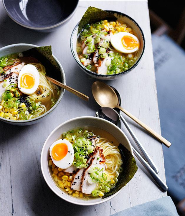 "**[Smoked chicken ramen with corn](https://www.gourmettraveller.com.au/recipes/browse-all/smoked-chicken-ramen-with-corn-11972|target=""_blank""