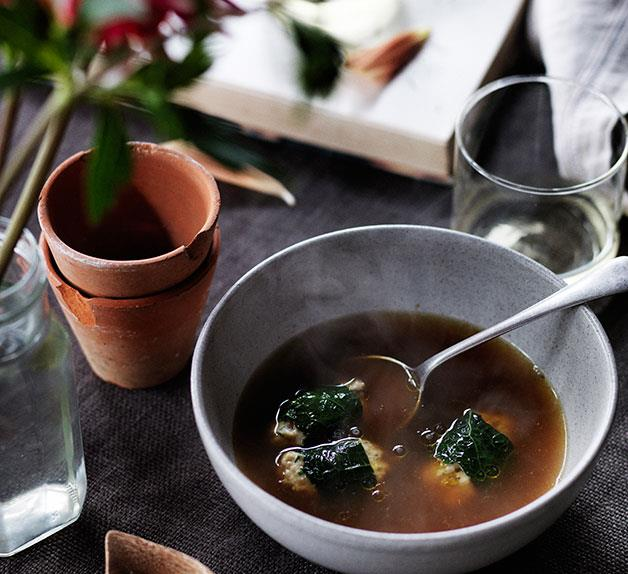 Rabbit broth with rabbit and barley dumplings