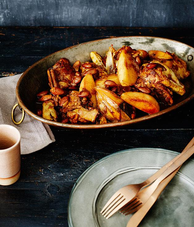 """**[Chicken, quince, lemon and almond tagine](https://www.gourmettraveller.com.au/recipes/browse-all/chicken-quince-lemon-and-almond-tagine-11977