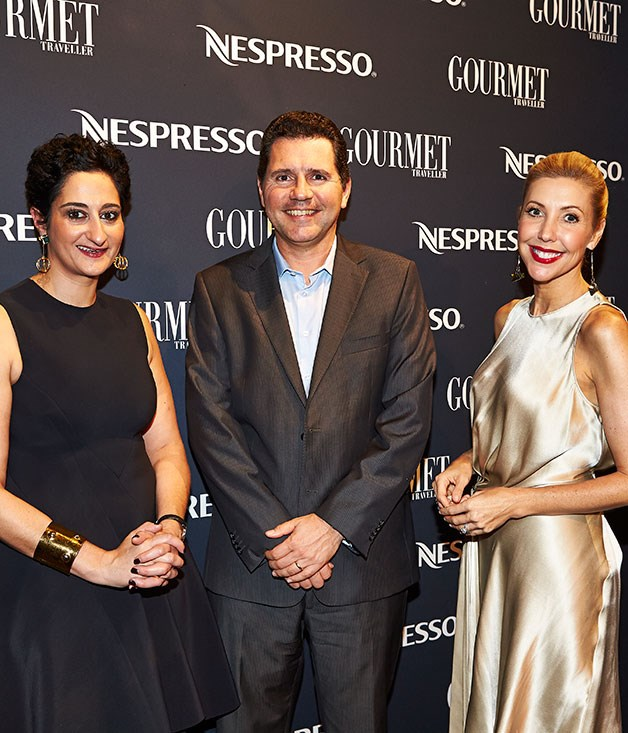 **** _GT_ editor Anthea Loucas, Nespresso Australia and Oceania general manager Renaud Tinel and host for the evening Catriona Rowntree.