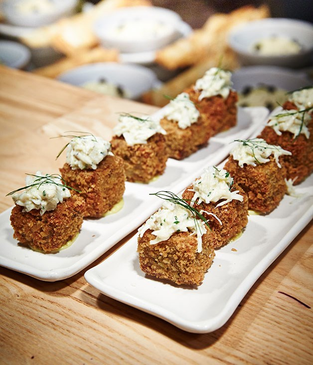 **** Pork trotter croquettes with mud crab mayonnaise.