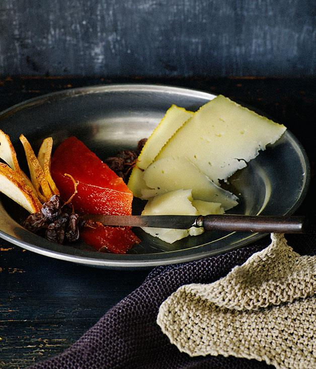 """**[Membrillo and aged Manchego](https://www.gourmettraveller.com.au/recipes/browse-all/membrillo-and-aged-manchego-11981