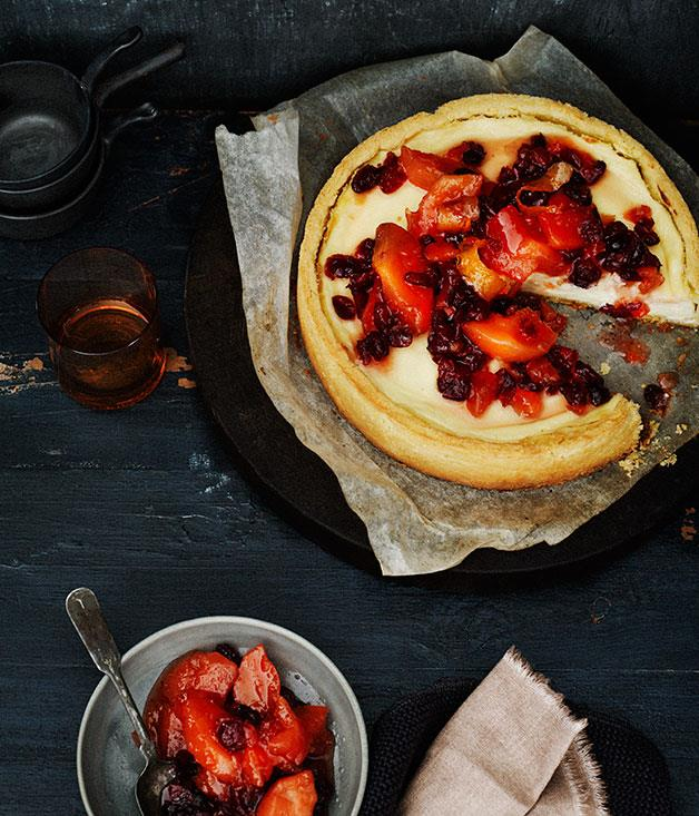 """**[Quince and cranberry compote and ricotta tart](http://www.gourmettraveller.com.au/recipes/browse-all/quince-and-cranberry-compote-and-ricotta-tart-11983