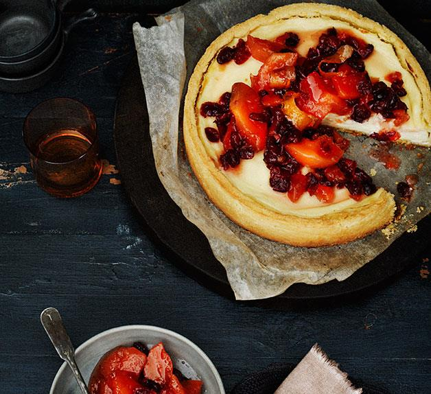 Quince and cranberry compote and ricotta tart