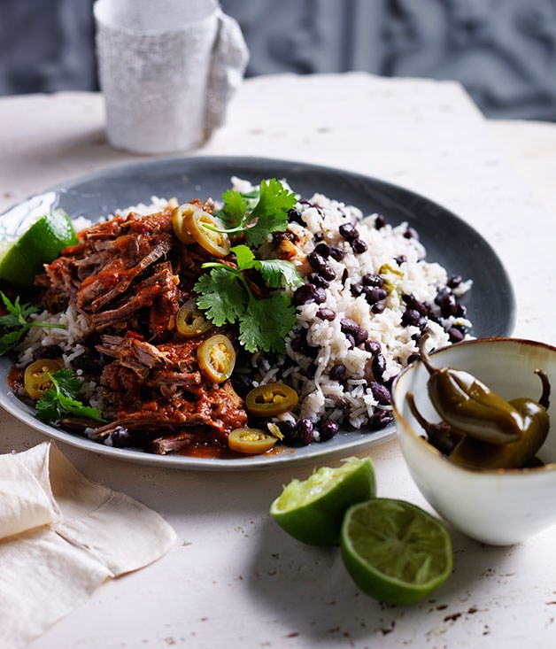 Cuban black beans and rice with pulled beef
