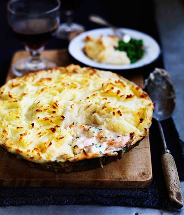 "**[Fish pie with piped potato](https://www.gourmettraveller.com.au/recipes/browse-all/fish-pie-with-piped-potato-12523|target=""_blank"")** <br> To master this old favourite, buy the best fish you can find, a good quality fish stock and be generous with the herbs in the filling. How crunchy you like the mashed potato on top is a matter of personal preference, but a little bit of crunch adds a nice contrast to the tender fish."
