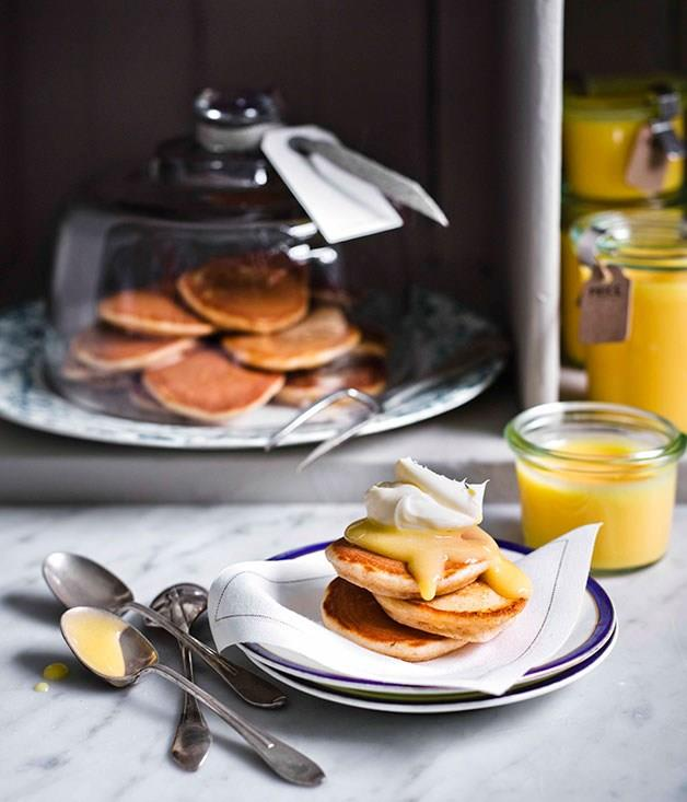 "**[Drop scones with lemon curd and clotted cream](https://www.gourmettraveller.com.au/recipes/browse-all/drop-scones-with-lemon-curd-and-clotted-cream-11370|target=""_blank"")** <br> These wonderfully light drop scones - made with spelt flour - would be more than welcome when the hour strikes for elevenses."