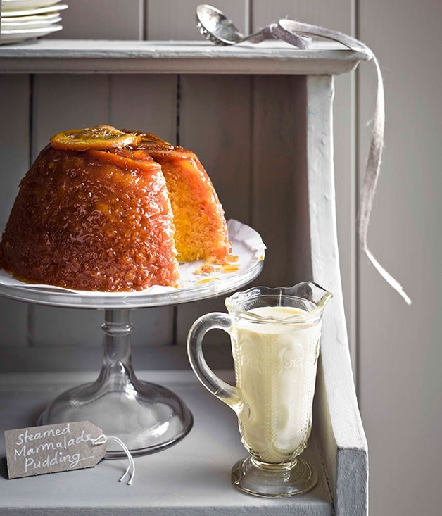 "**[Steamed marmalade pudding with thick English custard](https://www.gourmettraveller.com.au/recipes/browse-all/steamed-marmalade-pudding-with-thick-english-custard-11373|target=""_blank"")** <br> The British have a reputation for their steamed puddings and this marmalade number is further proof of why. Its bright citrus tang is the perfect antidote to grey days."