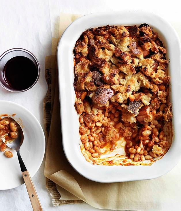 "**[British baked beans and bacon with chunky crumb topping](https://www.gourmettraveller.com.au/recipes/browse-all/british-baked-beans-and-bacon-with-chunky-crumb-topping-11382|target=""_blank"")** <br> Baked beans are standard issue when it comes to a full English. But we've taken them in a new direction in this hearty recipe, adding bacon, rosemary and a crunchy breadcrumb crust on top."